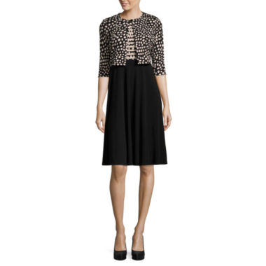 Danny & Nicole 3/4 Sleeve Dot Jacket Dress-Petites