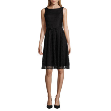 Danny & Nicole Sleeveless Belted A-Line Dress-Petites