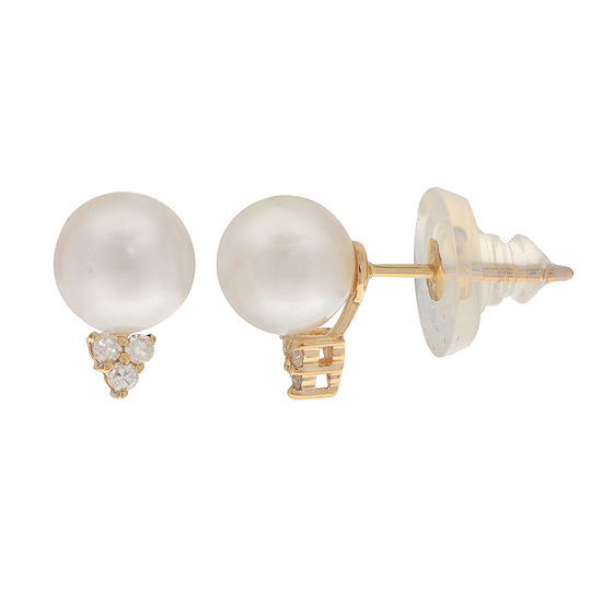 Womens Genuine White Cultured Akoya Pearl 14K Gold Round Pendant