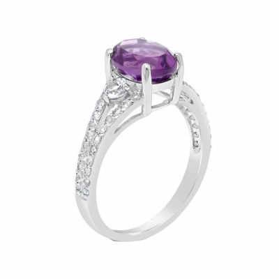 Womens Genuine Purple Amethyst Sterling Silver Cocktail Ring