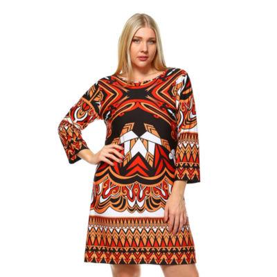 White Mark Revolution Geometric Sheath Dress-Plus