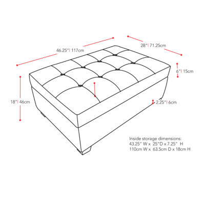 Corliving Antonio Tufted Storage Ottoman