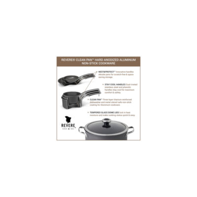 Revere Clean Pan 1 1/2 Qt Aluminum Dishwasher Safe Hard Anodized Non-Stick Sauce Pan