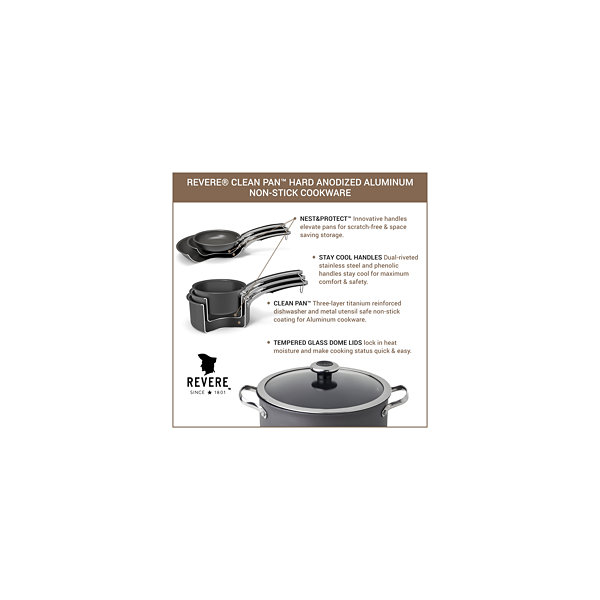 Revere Clean Pan 3-pc. Aluminum Hard Anodized Non-Stick Frying Pan
