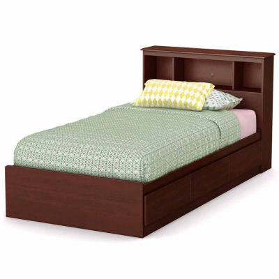 South Shore Little Treasures Twin Mates Bed with Drawers and Bookcase Headboard Set