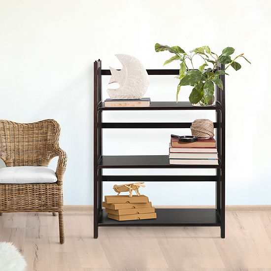 Folding 3 Shelf Stackable Bookcase