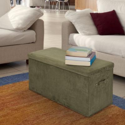 Cushioned Fold-Up Storage Bench