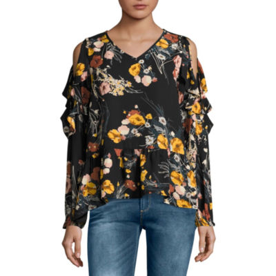 Buffalo Jeans Long Sleeve Floral Ruffle Top