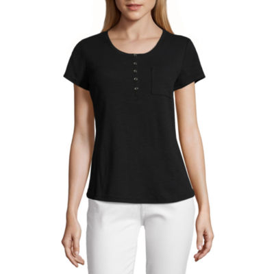 Liz Claiborne Short Sleeve Henley Neck T-Shirt-Womens