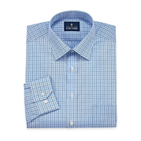Stafford Travel Easy-Care Long Sleeve Broadcloth Checked Dress Shirt