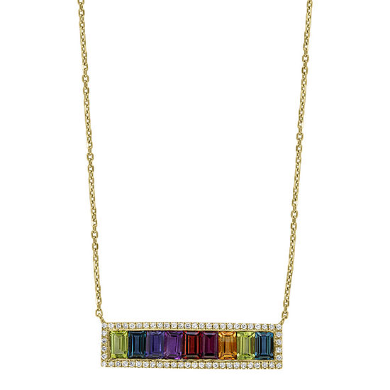 LIMITED QUANTITIES! Effy Final Call Womens Rainbow 1/4 CT. T.W. Multi-Stone 14K Gold Pendant Necklace