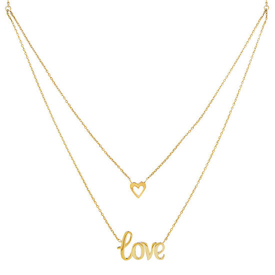 """Love"" Womens 10K Gold Heart Pendant Necklace"