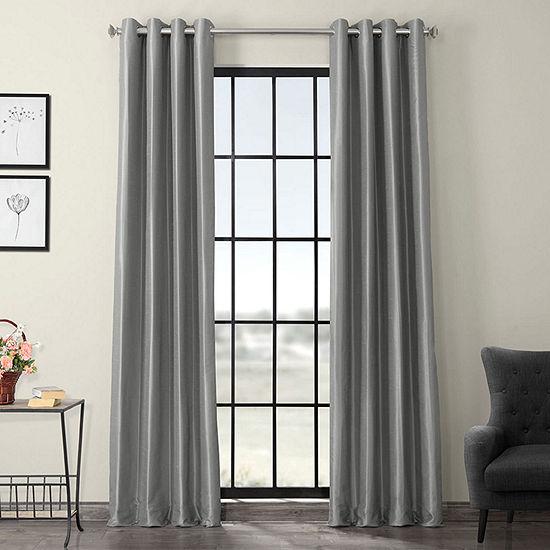 Exclusive Fabrics & Furnishing Vintage Textured Faux Dupioni Energy Saving Blackout Grommet-Top Single Curtain Panel