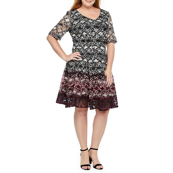 Danny & Nicole Short Sleeve Medallion Lace Fit & Flare Dress-Plus