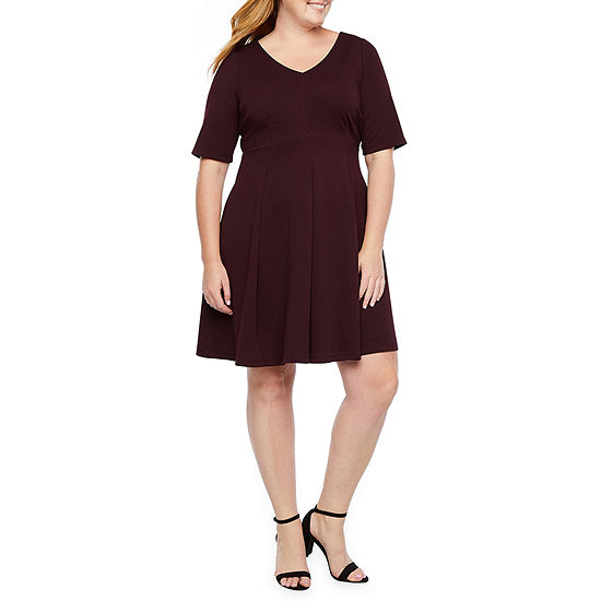 Danny & Nicole Short Sleeve Fit & Flare Dress-Plus