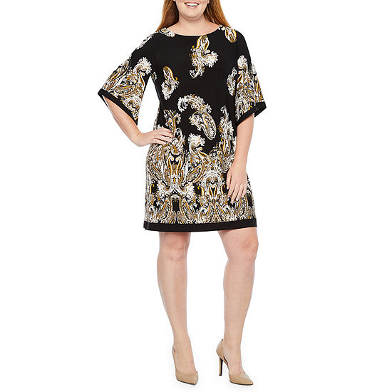 Studio 1 3 4 Sleeve Paisley Shift Dress Plus