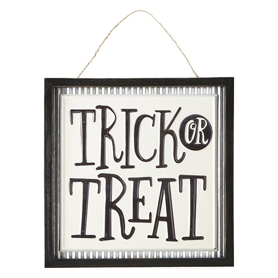 JCPenney Home Enameled Trick Or Treat Sign Wall Sign