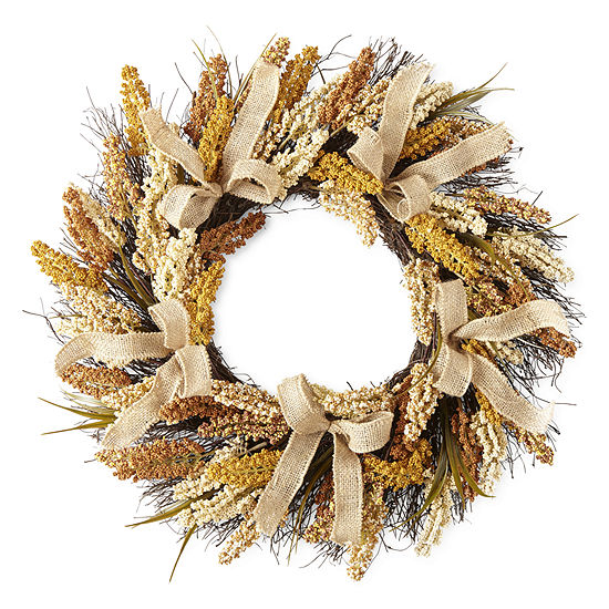 JCPenney Home Barley And Wheat Wreath