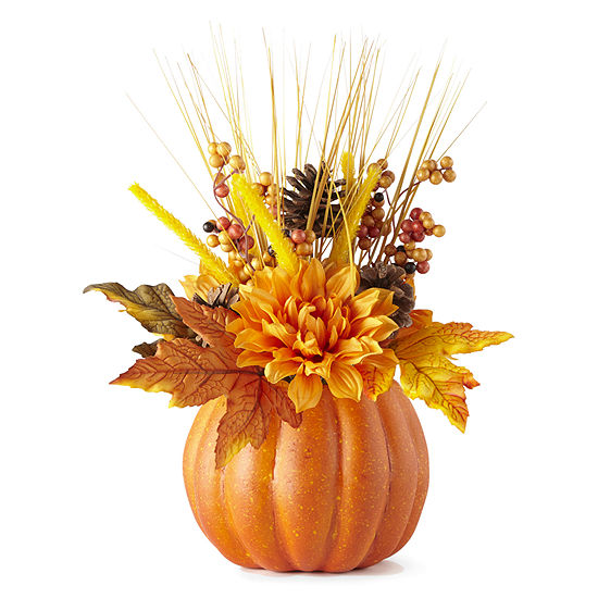 JCPenney Home Orange Floral Pumpkin Tabletop Decor