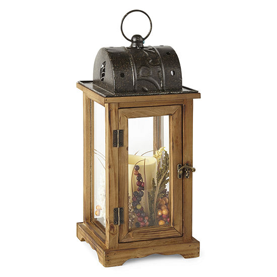JCPenney Home Wood & Metal Led Decorative Lantern
