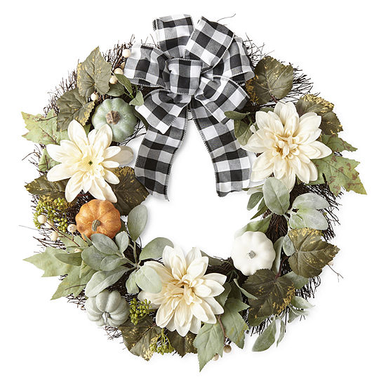 JCPenney Home Black & White Buffalo Check Wreath