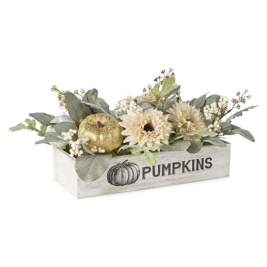 "JCPenney Home Whitewashed Box ""Pumpkins"" Floral Arrangement"