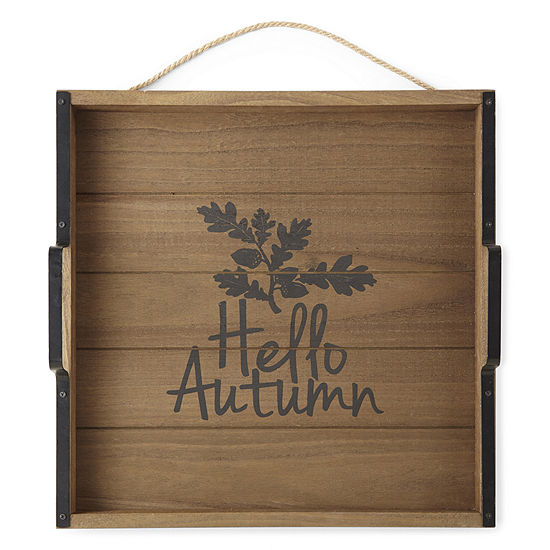 JCPenney Home Hello Autumn Wood Tray Tabletop Decor