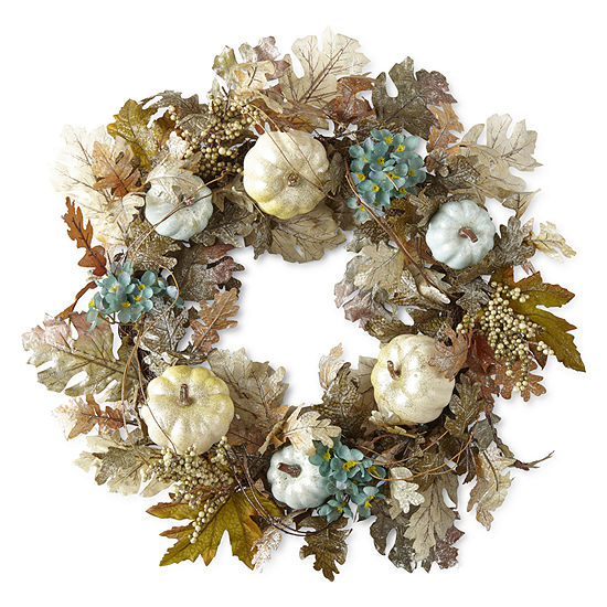 JCPenney Home Teal And White Pumpkin & Floral Wreath