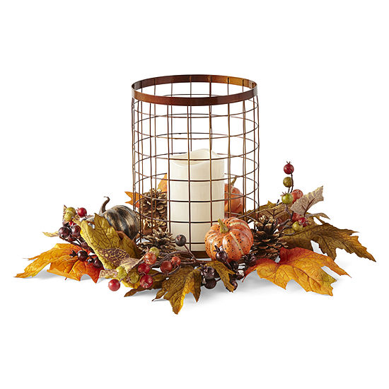 JCPenney Home Chickenwire Hurricane Lighted Tabletop Decor