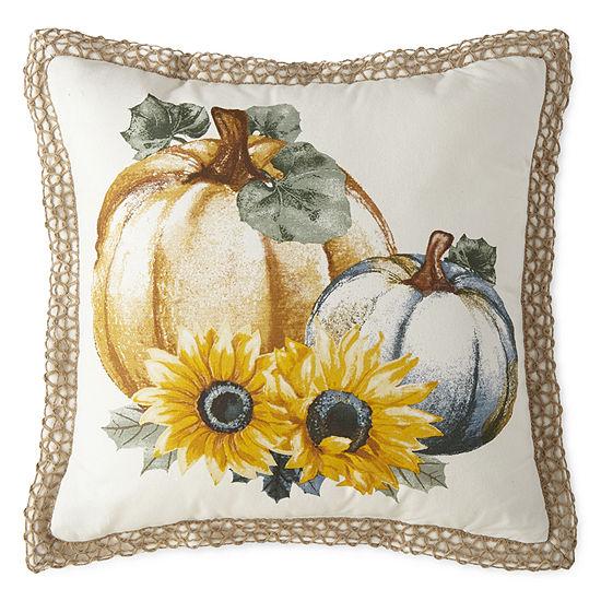JCPenney Home Pumpkin & Sunflower Square Throw Pillow