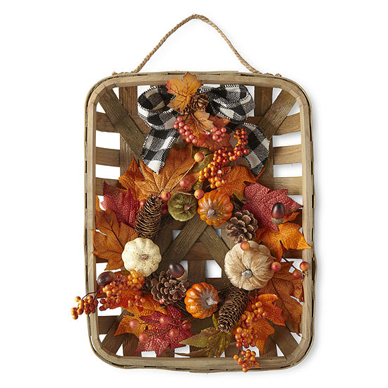JCPenney Home Harvest Tobacco Basket Wreath