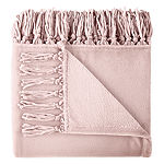 Home Expressions Back to Campus Solid Velvet Plush Fringe Throw