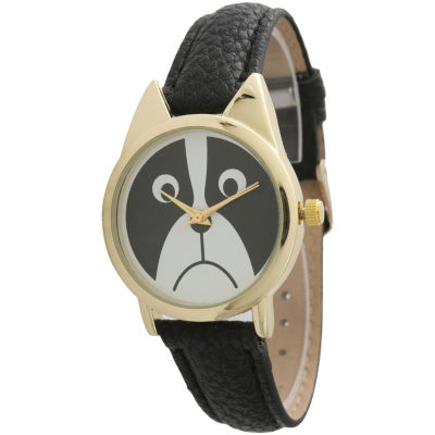 Olivia Pratt Womens Gold-ToneBezel Puppy Dog Dial Black Leather Watch 13152Black Gold