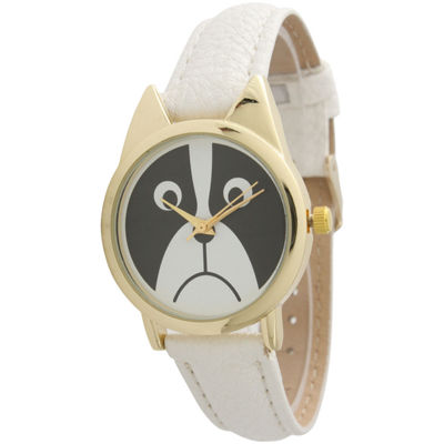 Olivia Pratt Womens Gold-Tone Bezel Puppy Dog Dial White Leather Watch 13152White Gold