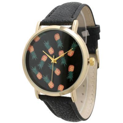 Olivia Pratt Womens Black Dial Pineapple Leather Watch 13623Black Black