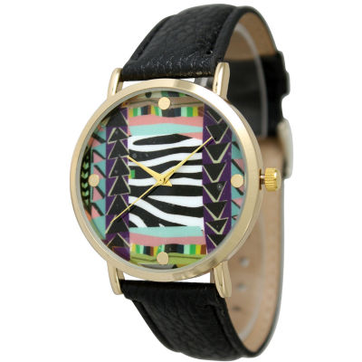 Olivia Pratt Womens Multi-Color Pattern With Gold-Tone Studs Dial Black Leather Watch 13628Black