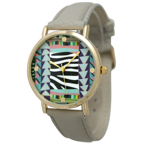 Olivia Pratt Womens Multi-Color Pattern With Gold-Tone Studs Dial Gray Leather Watch 13628Gray
