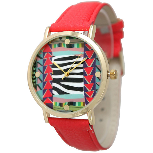 Olivia Pratt Womens Multi-Color Pattern With Gold-Tone Studs Dial Red Leather Watch 13628Red