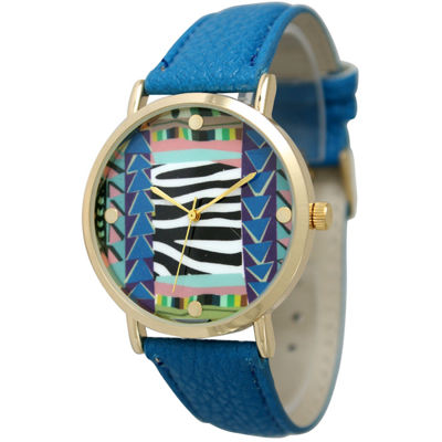 Olivia Pratt Womens Multi-Color Pattern With Gold-Tone Studs Dial Royal Leather Watch 13628Royal