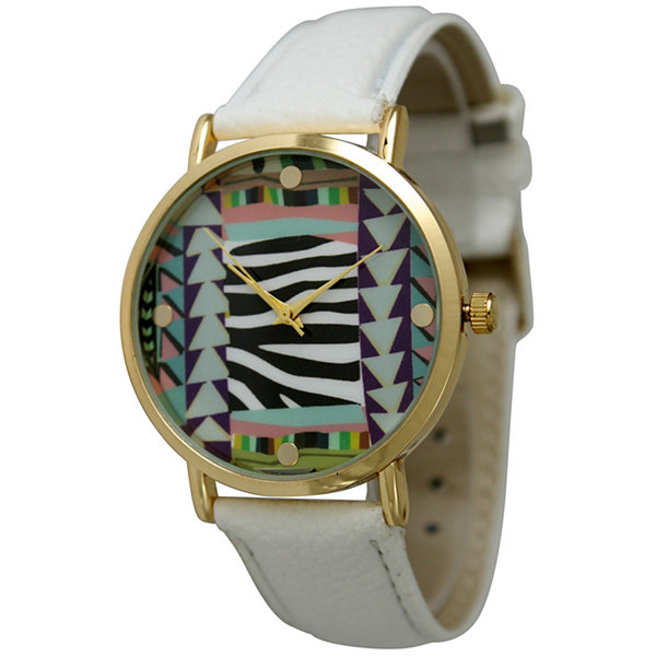 Olivia Pratt Womens Multi-Color Pattern With Gold-Tone Studs Dial White Leather Watch 13628White