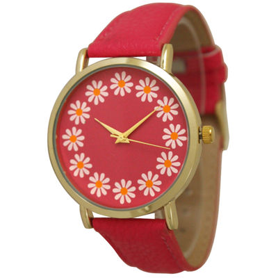 Olivia Pratt Womens Sunflower Dial Hot Pink Leather Watch 13670Hot Pink