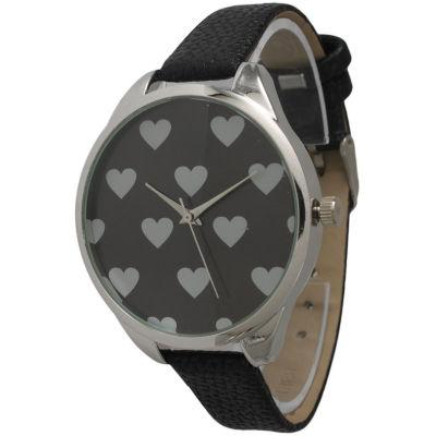 Olivia Pratt Womens Hearts Dial Black Leather Watch 13942Black