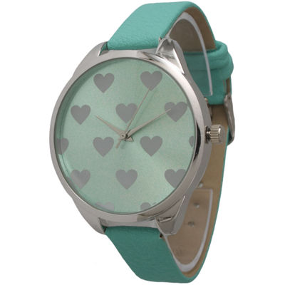 Olivia Pratt Womens Hearts Dial Mint Leather Watch 13942Mint