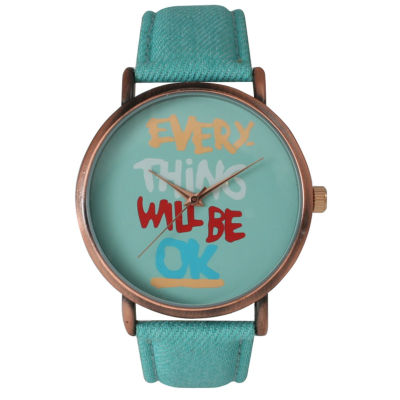 Olivia Pratt Womens Everything Will Be Ok Dial Mint Leather Watch 14503Mint