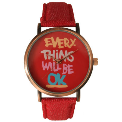 Olivia Pratt Womens Everything Will Be Ok Dial Red Leather Watch 14503Red