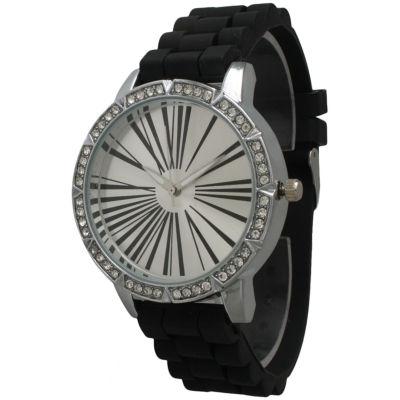 Olivia Pratt Womens Rhinestone Bezel Roman Numeral Dial Black Silicon Watch 20369Black