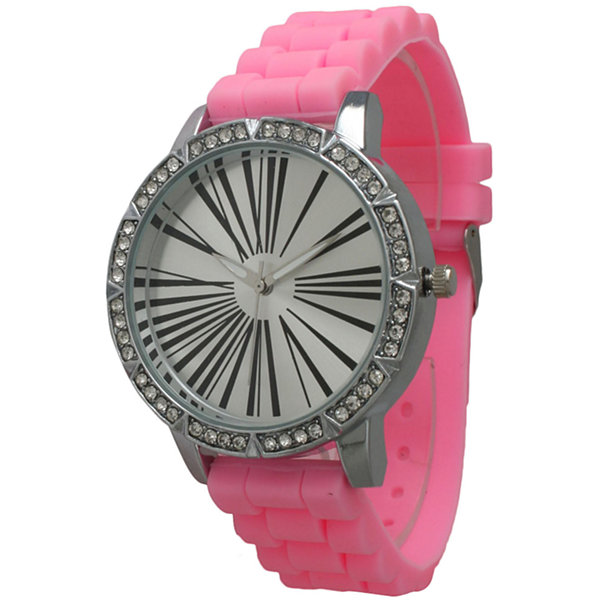 Olivia Pratt Womens Rhinestone Bezel Roman Numeral Dial Bubble Pink Silicon Watch 20369Bubble Pink