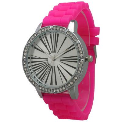 Olivia Pratt Womens Rhinestone Bezel Roman Numeral Dial Hot Pink Silicon Watch 20369Hot Pink