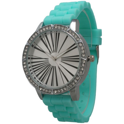 Olivia Pratt Womens Rhinestone Bezel Roman Numeral Dial Mint Silicon Watch 20369Mint