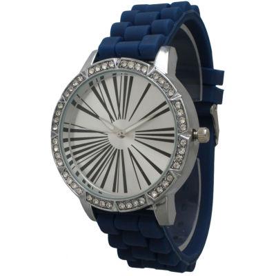 Olivia Pratt Womens Rhinestone Bezel Roman Numeral Dial Navy Silicon Watch 20369Navy